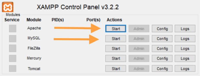 XAMPP configuration panel