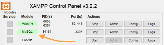 XAMPP configuration panel - 2