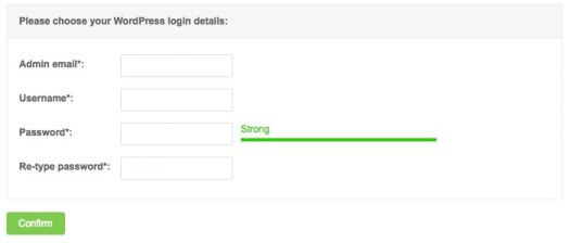 Choose your WP login details