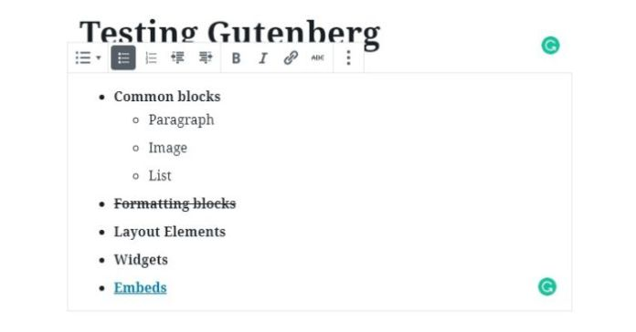 009 wordpress block editor list block