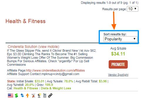 ClickBank sort results