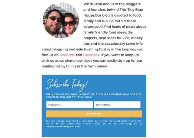 Example Optin Form on About Page