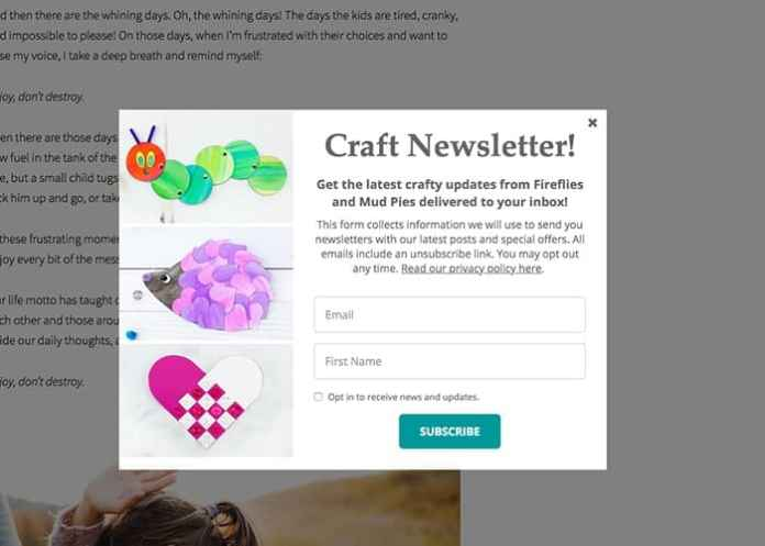 email marketing pop up example