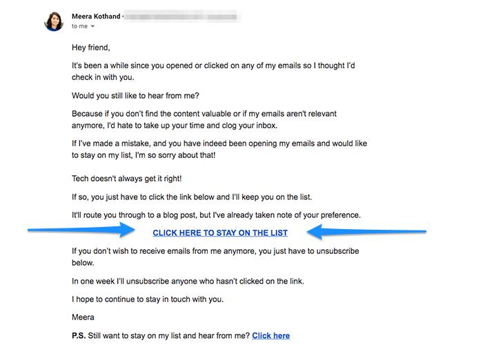 azioni del segmento di email marketing annotate