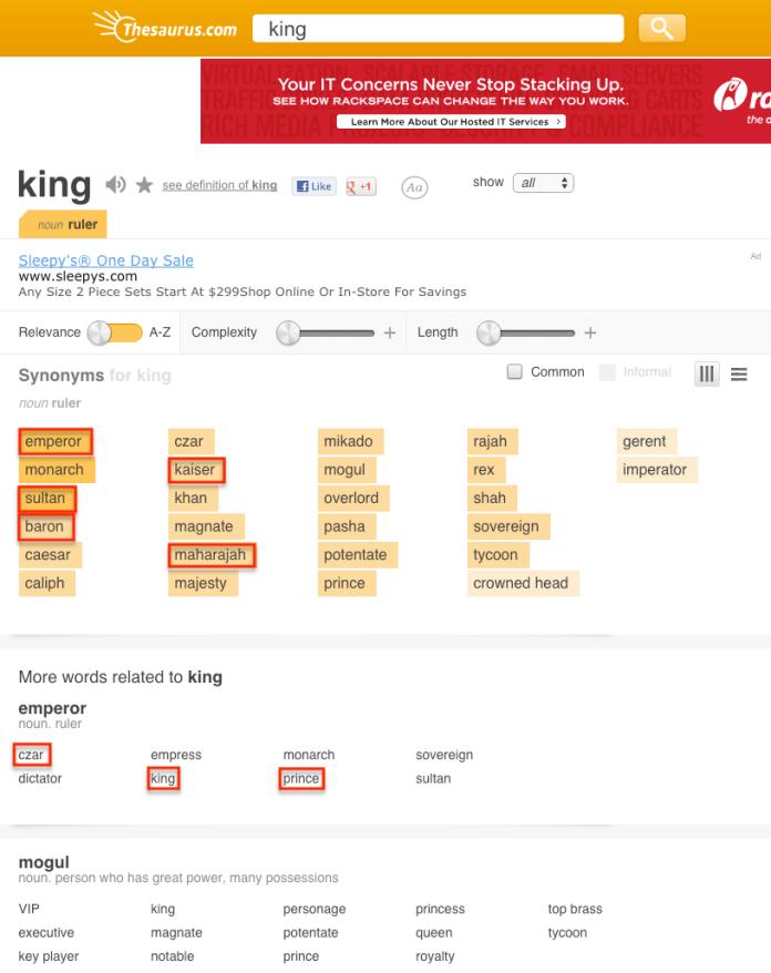 007 king thesaurus