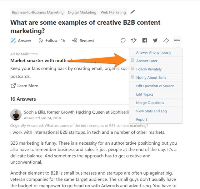 Bookmark Quora question