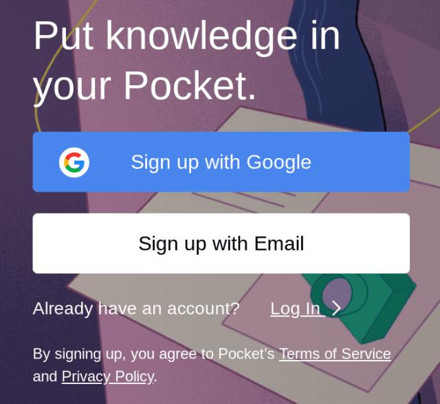 sign up for pocket