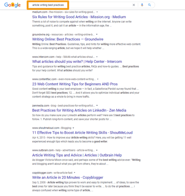 writing sample google best practices screenshot