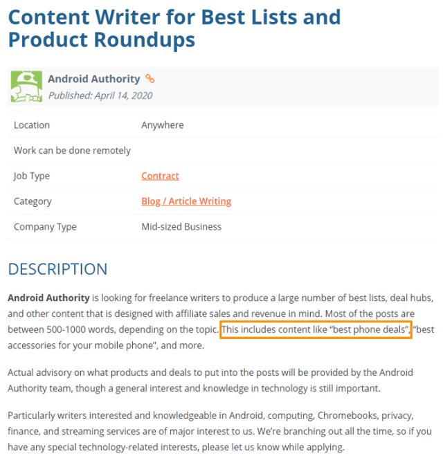 writing sample job ad screenshot android blog