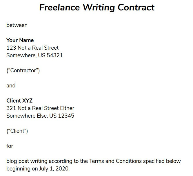 freelance contract template introduction