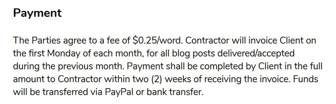 freelance contract template payment