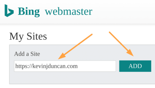 Add website to Bing Webmaster Tools