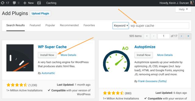 Search and Install WordPress Plugin