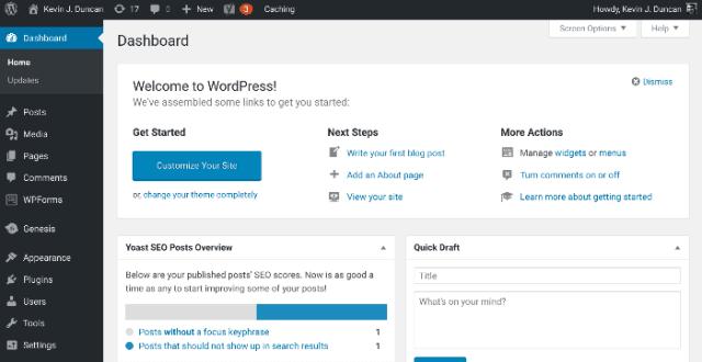 Start a blog - WordPress dashboard