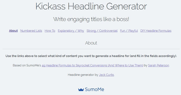 Kickass Headline Generator by Sumome