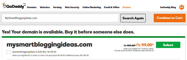 GoDaddy Domain Name is Available