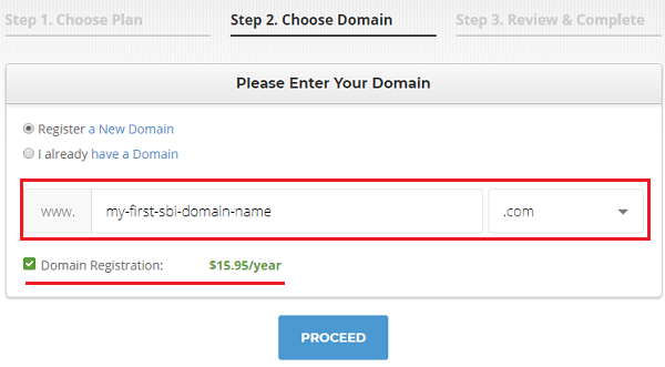 SiteGround Choose Domain Name