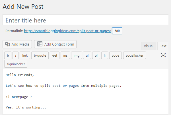 Split Post or Page into Multiple Pages
