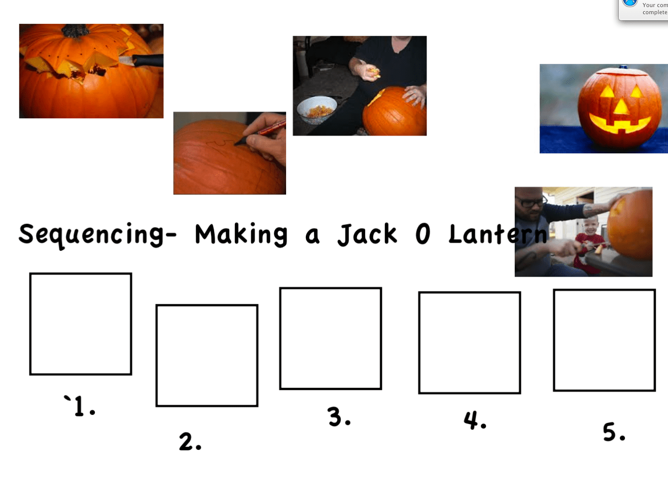 Sequencing Carving A Jack O Lantern Smart Notebook
