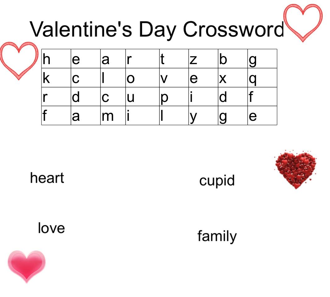 Worksheet Valentine Crossword
