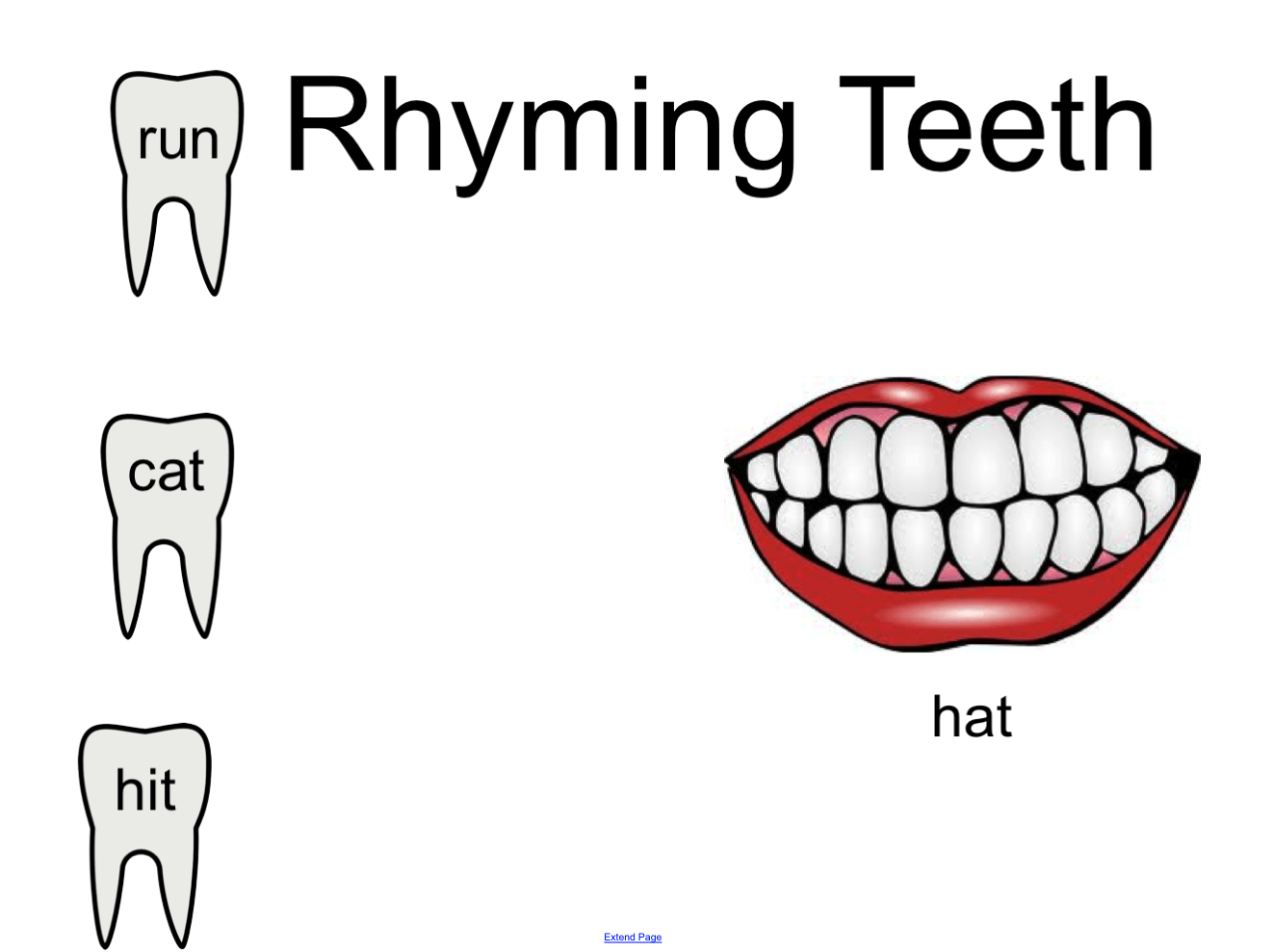 Rhyming Teeth Smart Notebook Smart Board Ideas