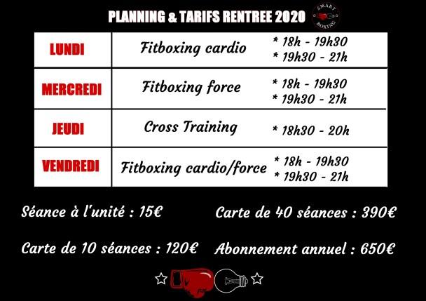 planning et tarifs 2020