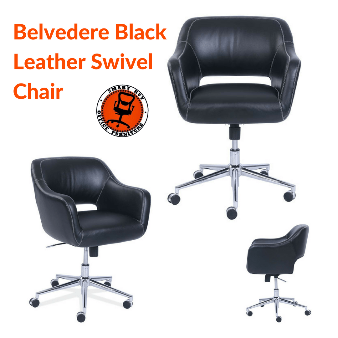 Belvedere Black Leather Swivel Chair With Chrome Base