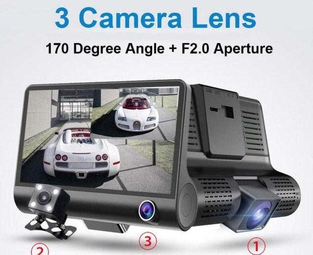 "DVR Τριπλή Κάμερα Αυτοκινήτου Full HD 1080P με Οθόνη 4"" LCD με Δυνατότητα Ανίχνευσης και Καταγραφής Κινήσεων"