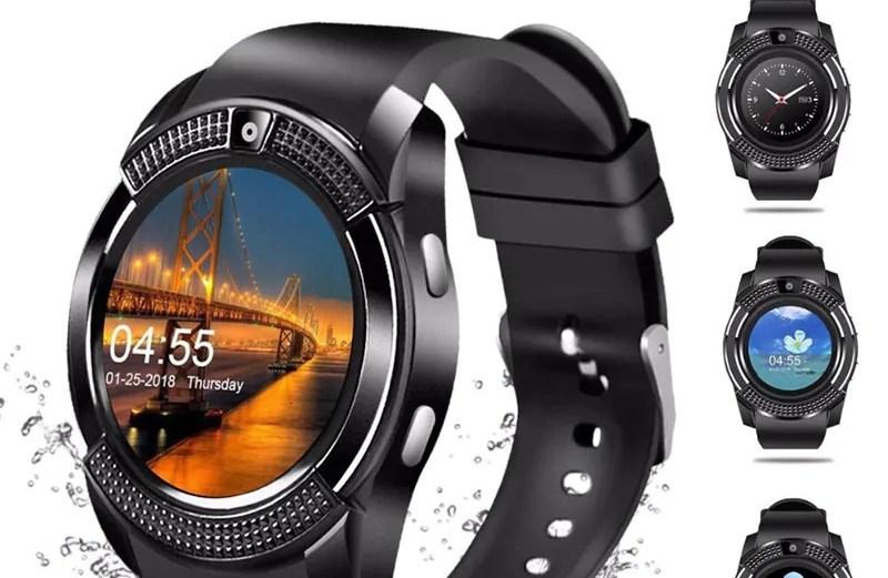 Smart Watch V8 Ρολόι Κινητό Τηλέφωνο με Sim, Οθόνη Αφής, Κάμερα, Βηματομετρητή, Μέτρηση Ύπνου, Facebook, Internet, Antilost