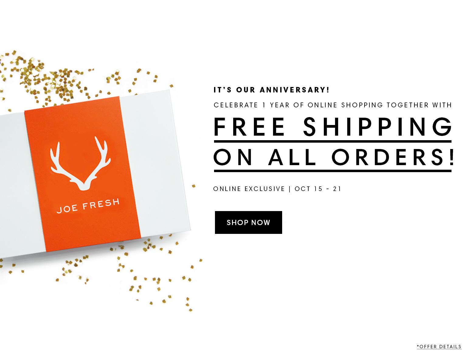 Joe Fresh Online Sales
