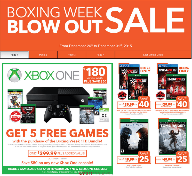 EB Games Canada Boxing Day Deals XBox And PS4 Bundles Plus More Canadian Freebies Coupons