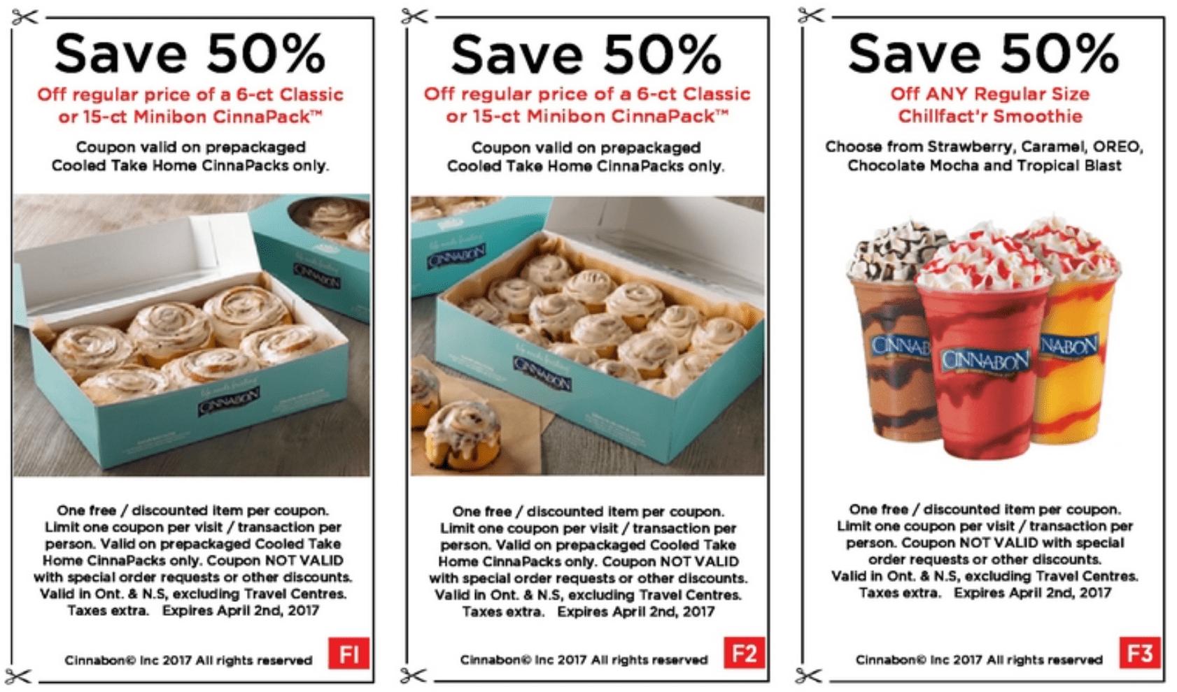 Cinnabon Canada Coupons: Save 50% Off Minibon CinnaPack