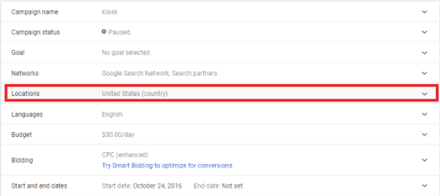 Daycare Advertising Blog Screenshot- Google Ads Country Setting