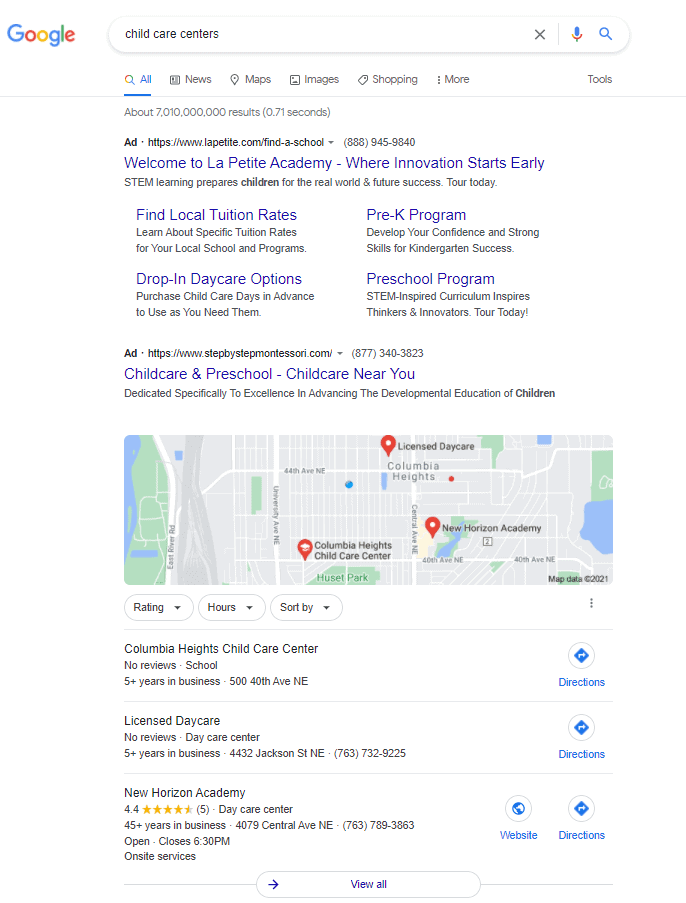 Daycare Advertising Blog Screenshot- Google Search Results Page