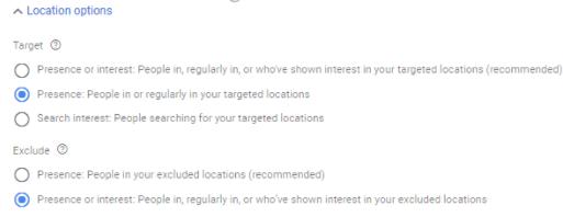 Daycare Advertising Blog Screenshot- Location Preference Google Ads
