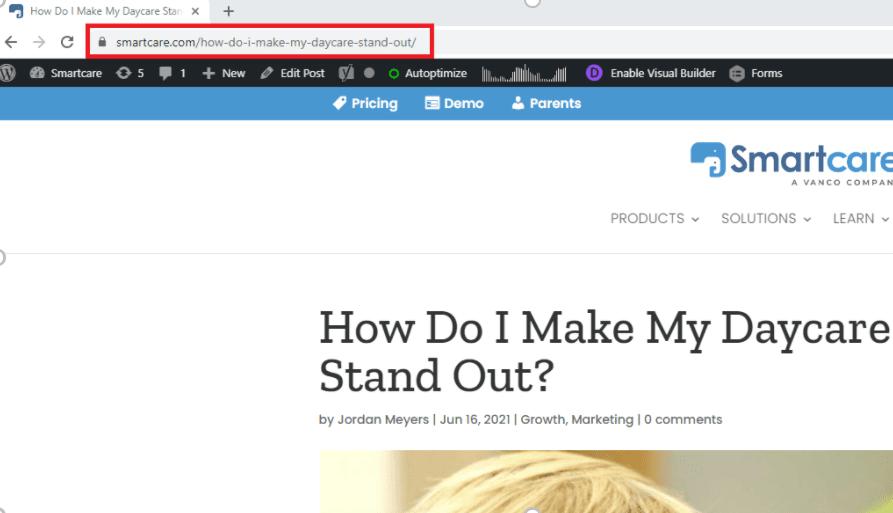 Daycare Advertising Blog Screenshot - URL