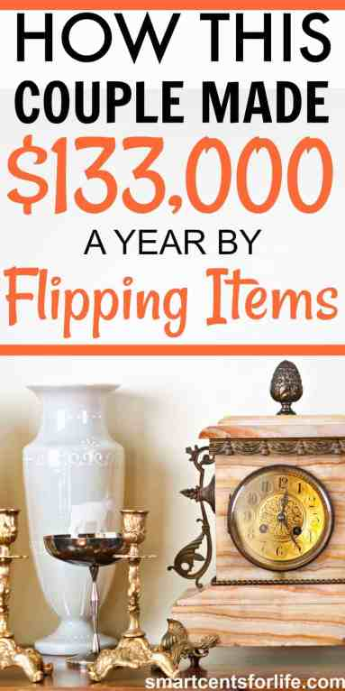 How this couple made $133000 a year by flipping items. Make extra income working from home. Side hustles that work while working from home