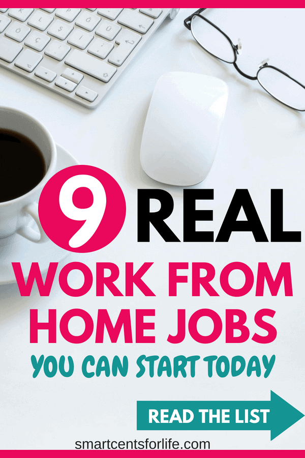 Looking to work from home this year? Check out this list of 9 real work from home jobs! Start making money from home with these business ideas and side jobs! Whether you are a stay at home mom, college student or a 9 to 5 worker these legitimate work at home jobs will help you make money from home!