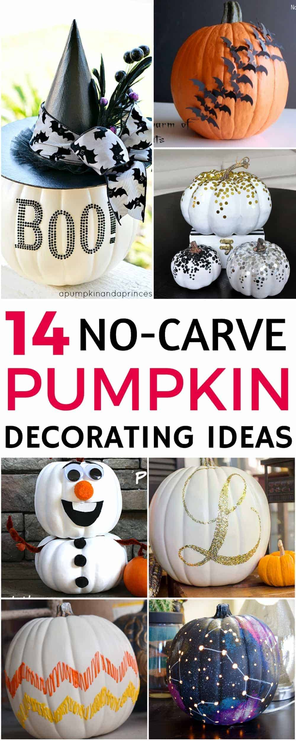Are you looking for some pumpkin decorating ideas? Have a fun and creative Halloween with these 14 easy no carve pumpkin decorating ideas. Great to get the whole family and kids involved this fall! Number 13 is my favorite!