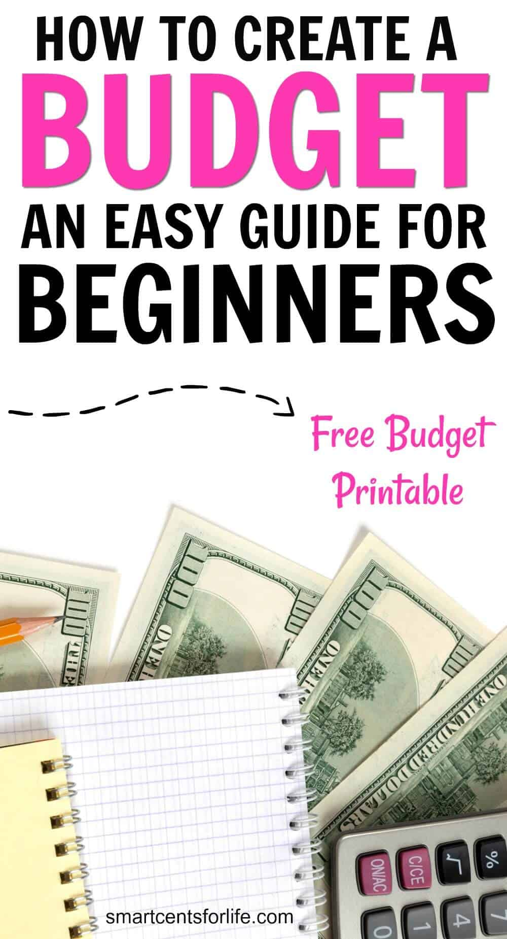 Learn how to create a budget and control your finances with this 4-step guide. Even if you've never budget before this easy budgeting guide will help you track your income, control your expenses and save more money! You can stop living paycheck to paycheck by creating a budget that works! FREE monthly budget worksheet printable included! How to budget for beginners, money saving tips, budgeting tips, Dave Ramsey, frugal living, envelope system #moneysavingtips #budget #personalfinance