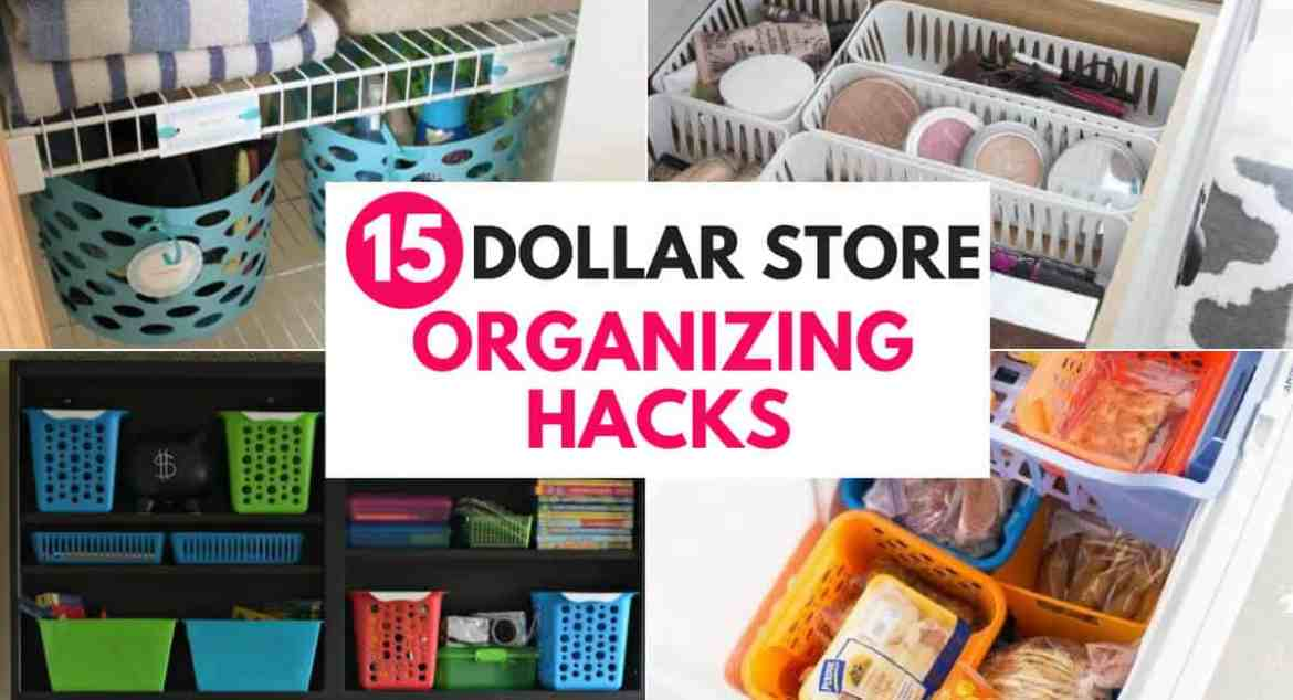 Check out these 15 dollar store organizing hacks to organize your whole house on a budget! Organize your kitchen, bathroom, closet, pantry, laundry and more for cheap! Inexpensive DIY projects and ideas to declutter and organize everything at home!
