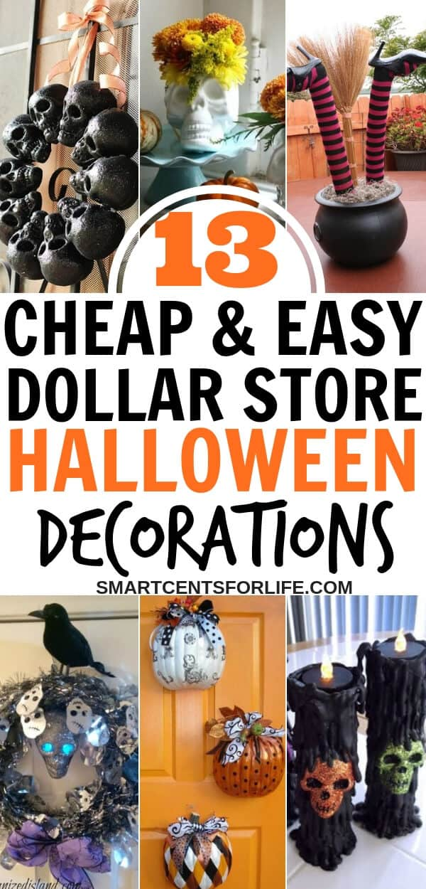 13 cheap and easy Dollar Store Halloween Decor Ideas -Want to have a Halloween on a budget? Check out how you can turn cheap Halloween Dollar store supplies into awesome Halloween decorating ideas! This different Halloween decor ideas will bring lots of fun for you and your family! Have a frugal Halloween without spending a fortune! #Halloween #DIY #HalloweenDecor #Holidays #DIYHalloweenDecor #Halloweenideas #HalloweenParty #HalloweenDecorations #DIYHalloweenDecorIdeas