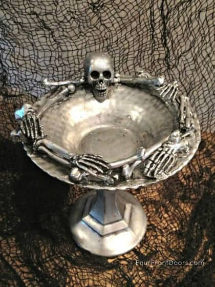 Dollar store Halloween Decoration - Skeleton Dish