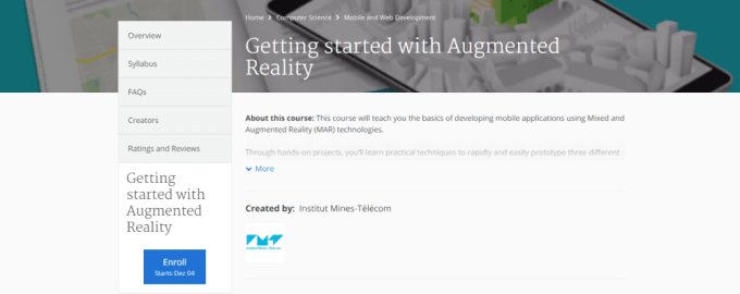 smart city online course, getting started with augmented reality, coursera