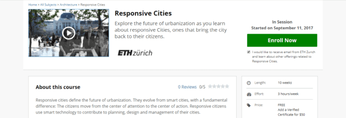smart city online course, responsive cities, edx