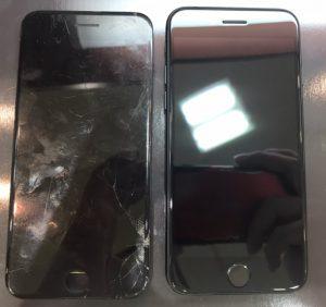 iphone7の画面割れ修理を担当しました。