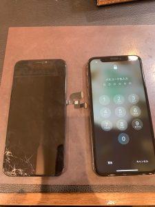 画面に線が入ったiPhone修理できます!iPhonexsの画面交換【岡山市よりお越しのお客様】