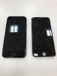 画面交換とガラスコーティングをしたiPhone7