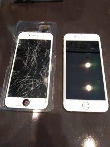 画面交換したiPhone
