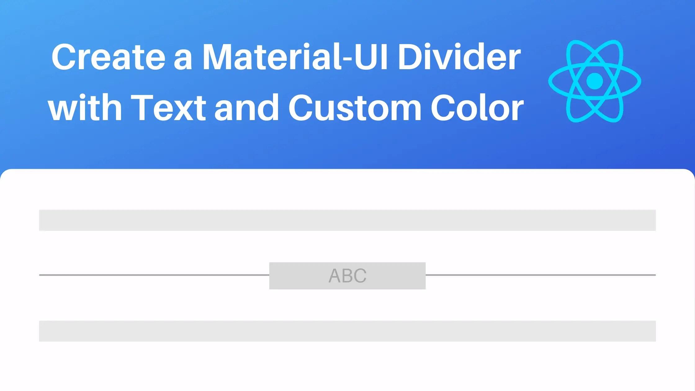Material-UI Divider Example